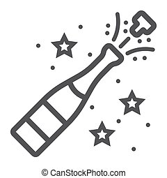Champagne bottle pop line icon, New year and Christmas, xmas...