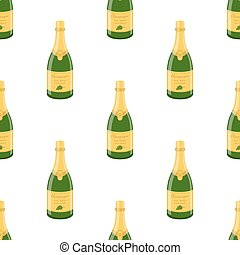 Champagne bottle seamless pattern. Cartoon flat style. Vector illustration