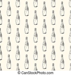 Champagne bottle seamless pattern. Sparkling wine backdrop.