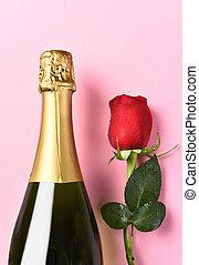 Champagne Bottle Single Rose