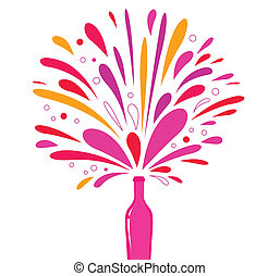 Festive champagne bottle for any special occasion. Vector Illustration.
