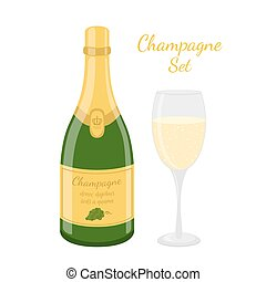 Champagne bottle, wine glass. Cartoon flat style. Vector illustration
