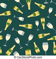Champagne bottle, wine glass seamless pattern. Cartoon flat style. Vector