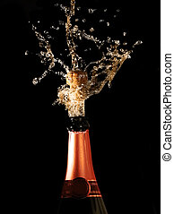 champagne bottle with shotting cork