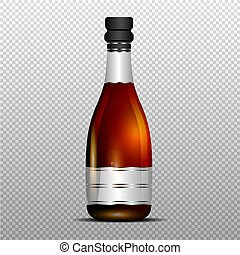 Champagne bottle with silver ribbon vector illustration...