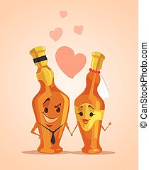 Champagne bottles characters in groom and bride suit. Vector flat cartoon illustration