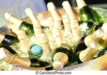 Champagne bottles ready for the party