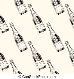 Champagne bottles seamless pattern. Sparkling wine backdrop.