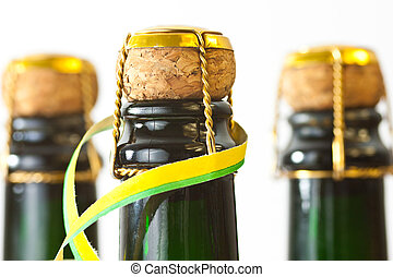 champagne bottles with paper streamer