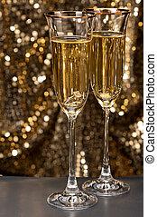 champagne bril, met, ondergeduikenene, ring