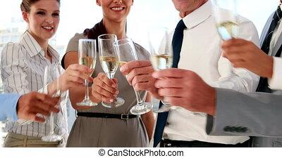 champagne, célébrer, équipe