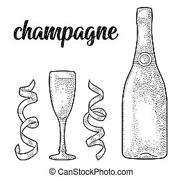 Champagne calligraphic handwriting lettering. Glass, bottle, serpentine.