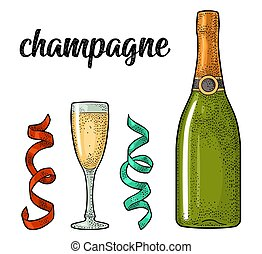 Champagne calligraphic handwriting lettering. Glass, bottle,...