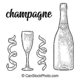 champagne, calligraphic, verre, écriture, bouteille, lettering., serpentine.