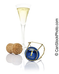 Champagne cap with the inscription 1 year