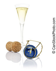 Champagne cap with the inscription 4 years