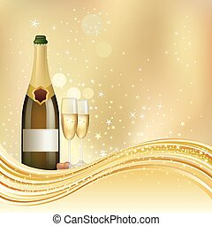 champagne celebrate background - vector illustration of ...