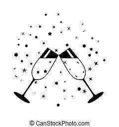 champagne celebratory glasses black