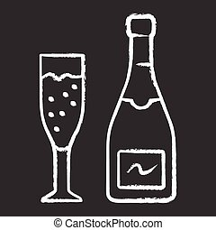Champagne chalk icon. Uncorked bottle and flute glass of ...