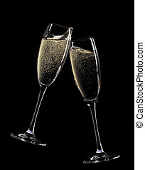 champagne, cheers!, due, occhiali