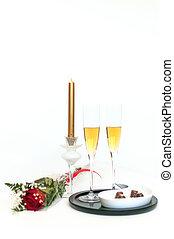 champagne, chocolade, en, rozen, -, negen