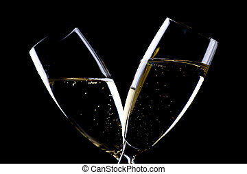 champagne, closeup, to, glas