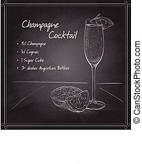 Champagne cocktail on black board