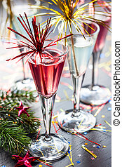 Champagne cocktail for  New Year and Christmas Celebration
