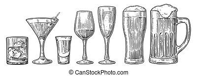 champagne, cocktails, bière, whisky, vin verre, ensemble, ...