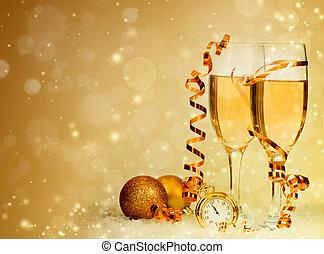 champagne, contro, luci, ang, decorazioni, vacanza, natale