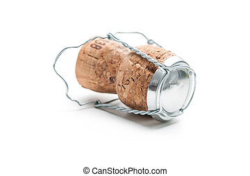 Champagne cork isolated on the white background