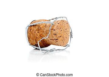 Champagne cork on white