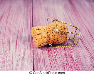 Champagne Cork On Wooden Table, single champagne cork Christmas