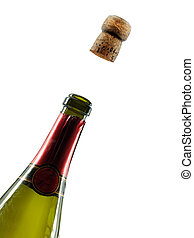 Champagne cork popping celebration background isolated