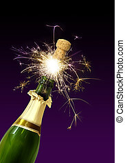 Champagne cork popping - Champagne bottle cork popping with...