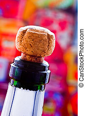 Champagne cork ready to explode