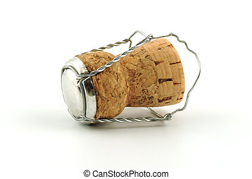 Champagne cork without any brand marks, on a white ...