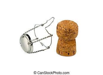 clasp and champagne corks, photo icon for celebrations, enjoyment and alcohol use