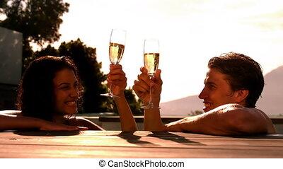 champagne, couple, boire, heureux