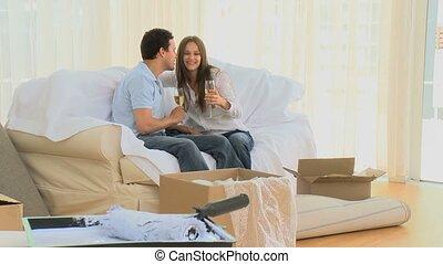 champagne, couple, boire, jeune