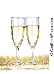 champagne, deux, flûtes