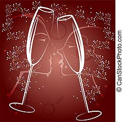 champagne, deux, fond, lunettes