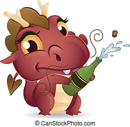 Champagne Dragon - Illustration of a Dragon Popping a ...