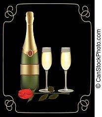 champagne, due, bottiglia, occhiali