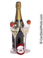 champagne, e, anello, per, giorno valentines
