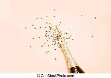 champagne, eksplosion, close-up