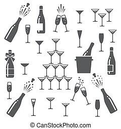 champagne, ensemble, icônes