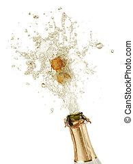 champagne, esplosione, bottiglia, sughero