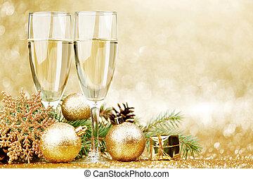 champagne, et, noël, décor