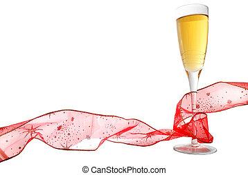 champagne, et, ruban
